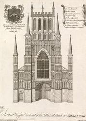 The West Prospect or Front of the Cathedral Church of Hereford